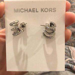 Michael kors crystal pave huggie hoop earring